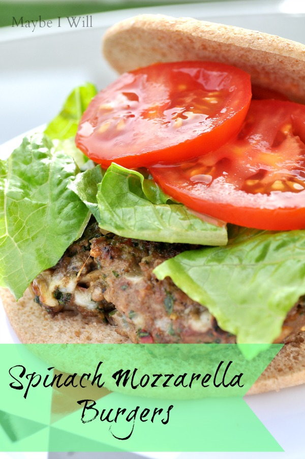 Spinach Mozzarella Burgers... loaded with flavor and fresh goodness!!! #healthy #burger #spinach {maybeiwill.com}