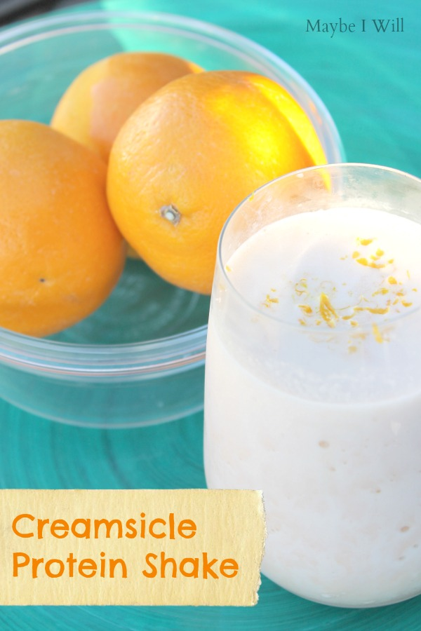 A Protein Shake inspired a summer classic Creamsicle!!! Full of orangey creamy goodness!! #creamsicle #proteinshakes #healthy #52weeksofshakes