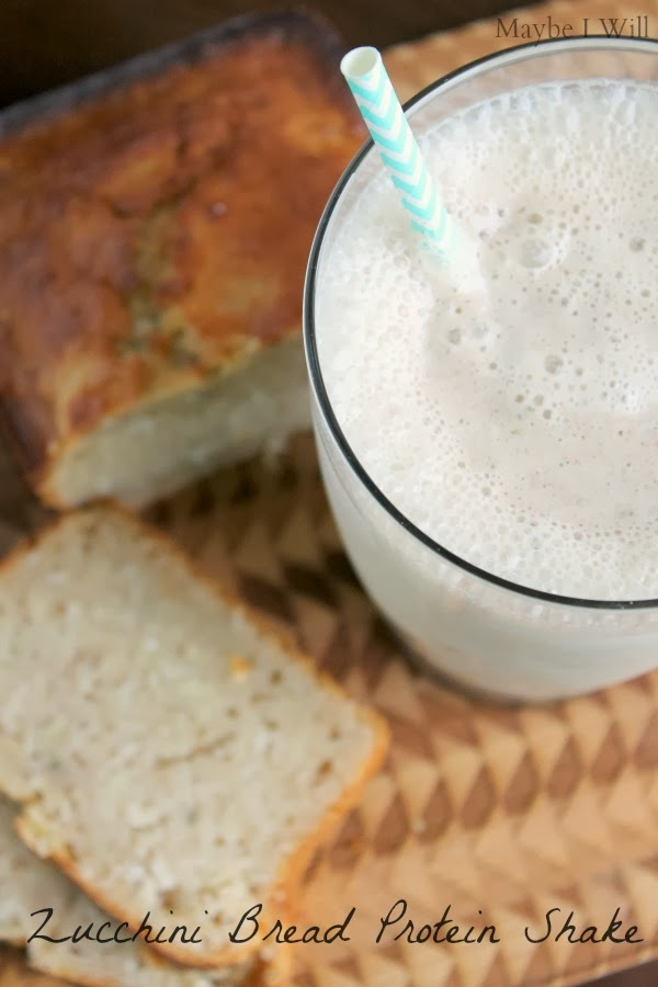 Zucchini Bread Protein Shake... This shake is AMAZING!!! Who ever thought throwing zucchini in a shake would be a good idea?!?!? So tasty! #zucchini #proteinshakes #protein {www.maybeiwill.com}