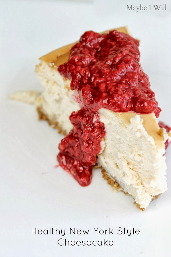 New York Style Cheesecake made over to be HEALTHY!!! So good and only 260 Calories a serving! #cheesecake #healthy #recipemakeover {www.maybeiwill.com}