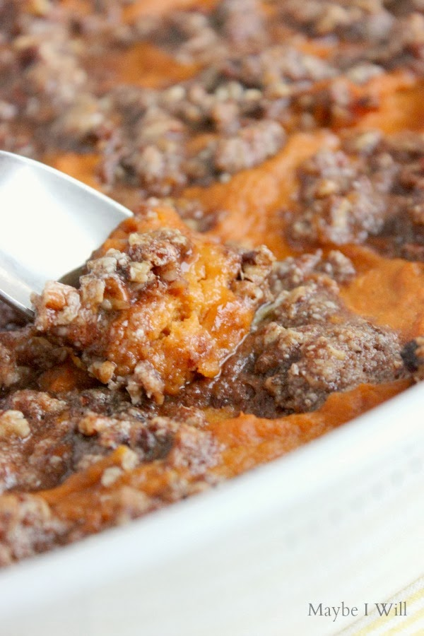 Healthified Ruth Chris' Sweet Potato Bake!!!! So yummy and tasty you'll think you're splurging! #healthyeats #recipemakeover #copycatrecipe {www.maybeiwill.com}
