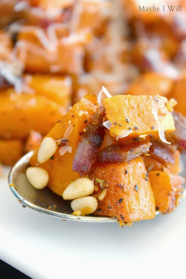 Savory Roasted Butter Squash with Star Butter Flavored Olive Oil... So savory and delightful!!! #shop #cbias #pinenuts #butternutsquash {www.maybeiwill.com}