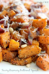 Savory Rosemary Roasted Butternut Squash with Butter Flavored Olive Oil