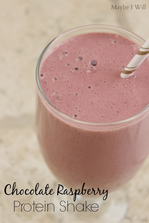 Chocolate Raspberry Protein Shake!! #proteinshakes #protein #healthyeats {www.maybeiwill.com}