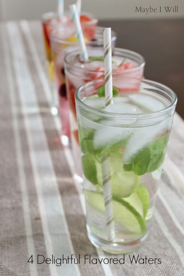 Flavored Waters -- Great way to help with your water intake and add some flavor & fun! #flavoredwater #water #healthy {www.maybeiwill.com}