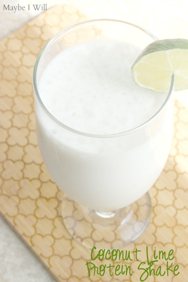 Coconut Lime Protein Shake - photo of tropical protein shake with slice of fresh lime