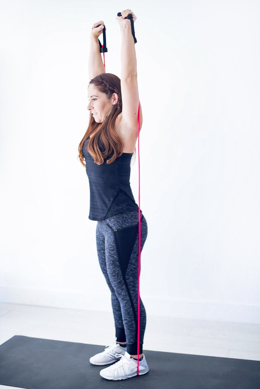 Overhead press with a resistance band