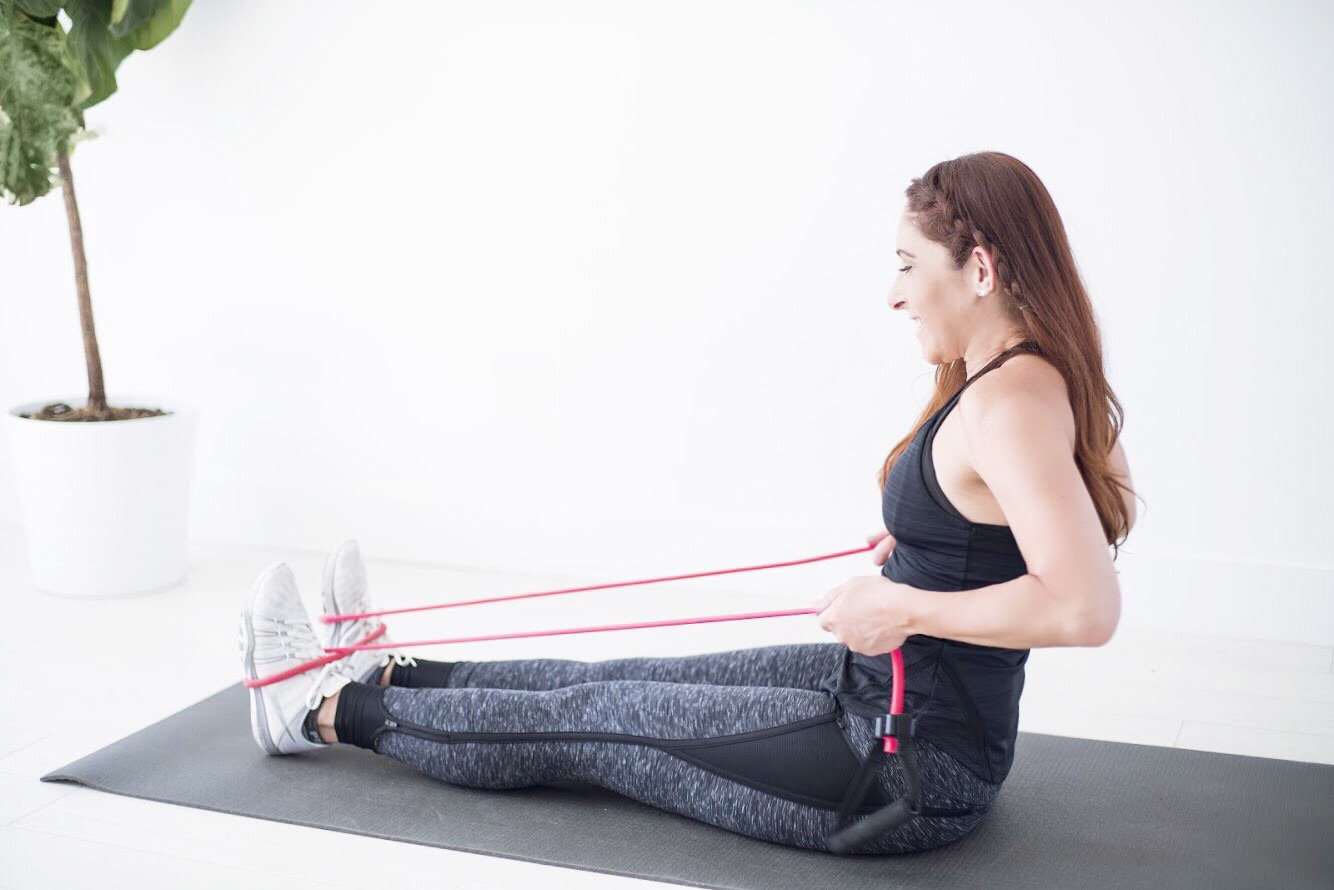 Seated row using a resistance band