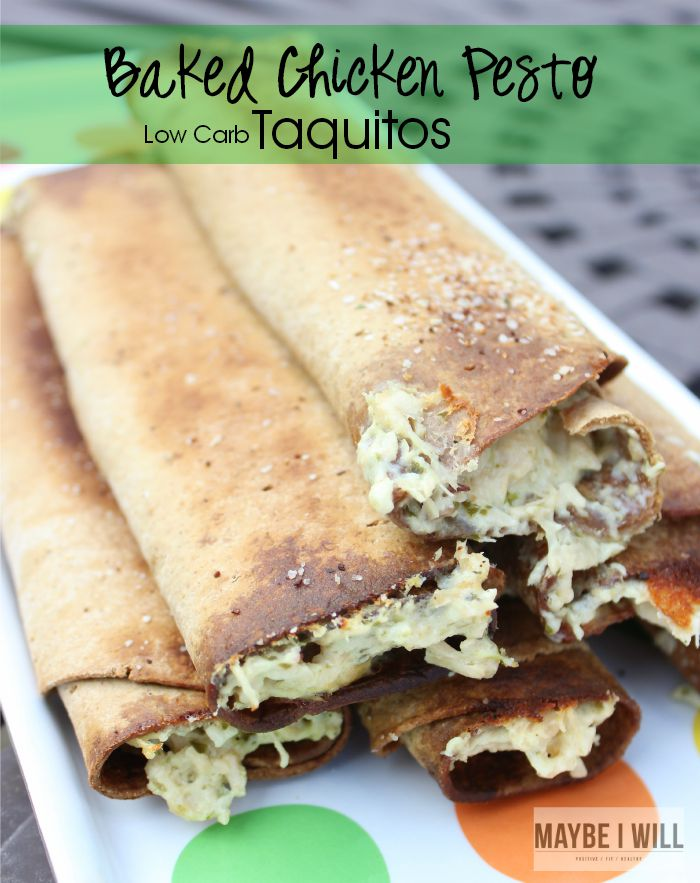 Baked Chicken Pesto Taquitoes