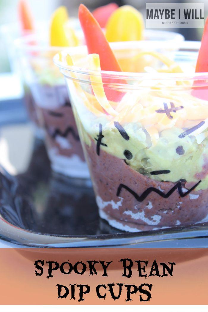 Spooky Black Bean Dip Cups