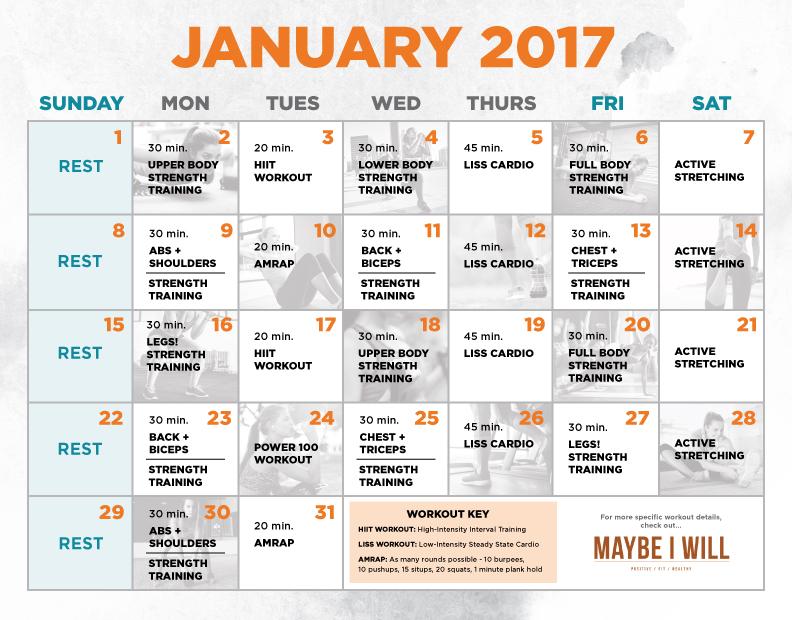January Workout Calendar