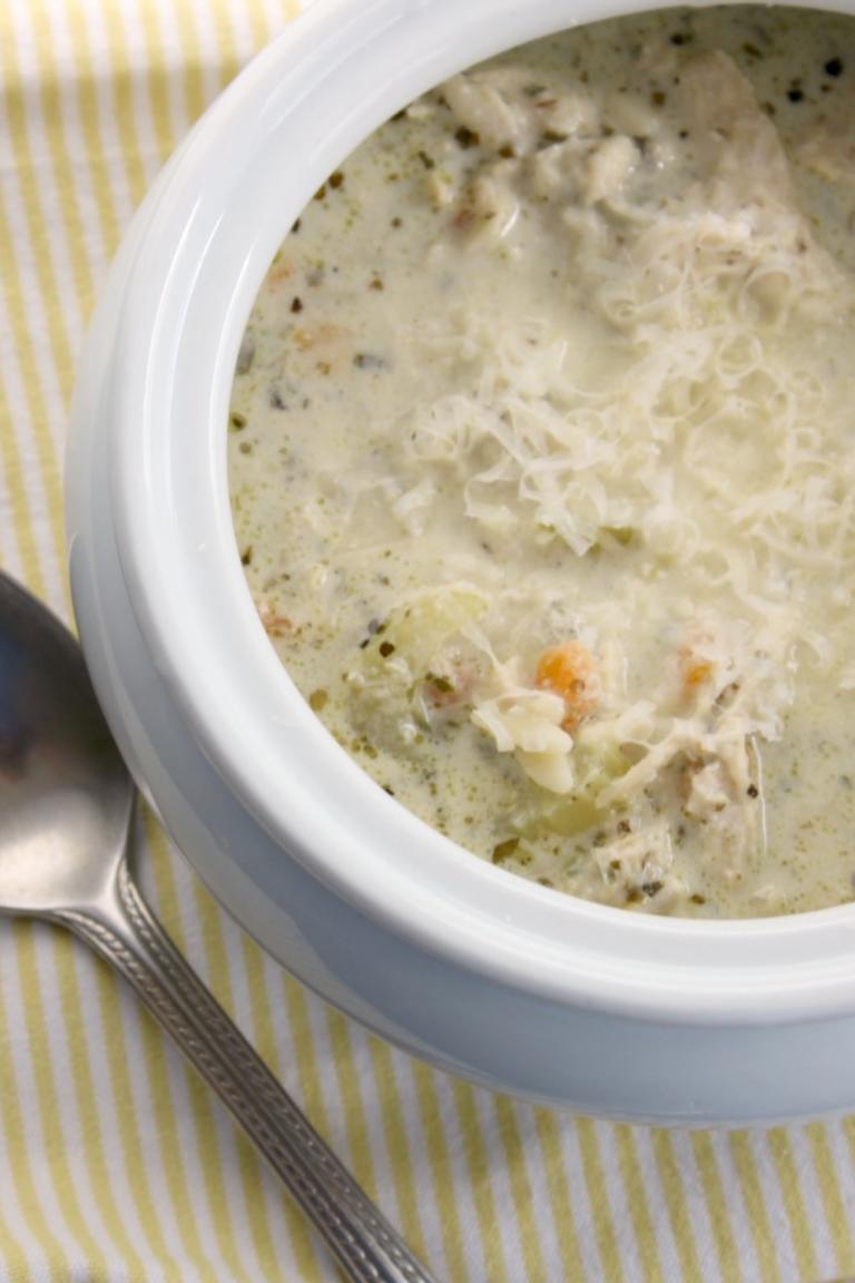 Super Simple + Tasty, Slow Cooker Creamy Chicken Pesto Soup