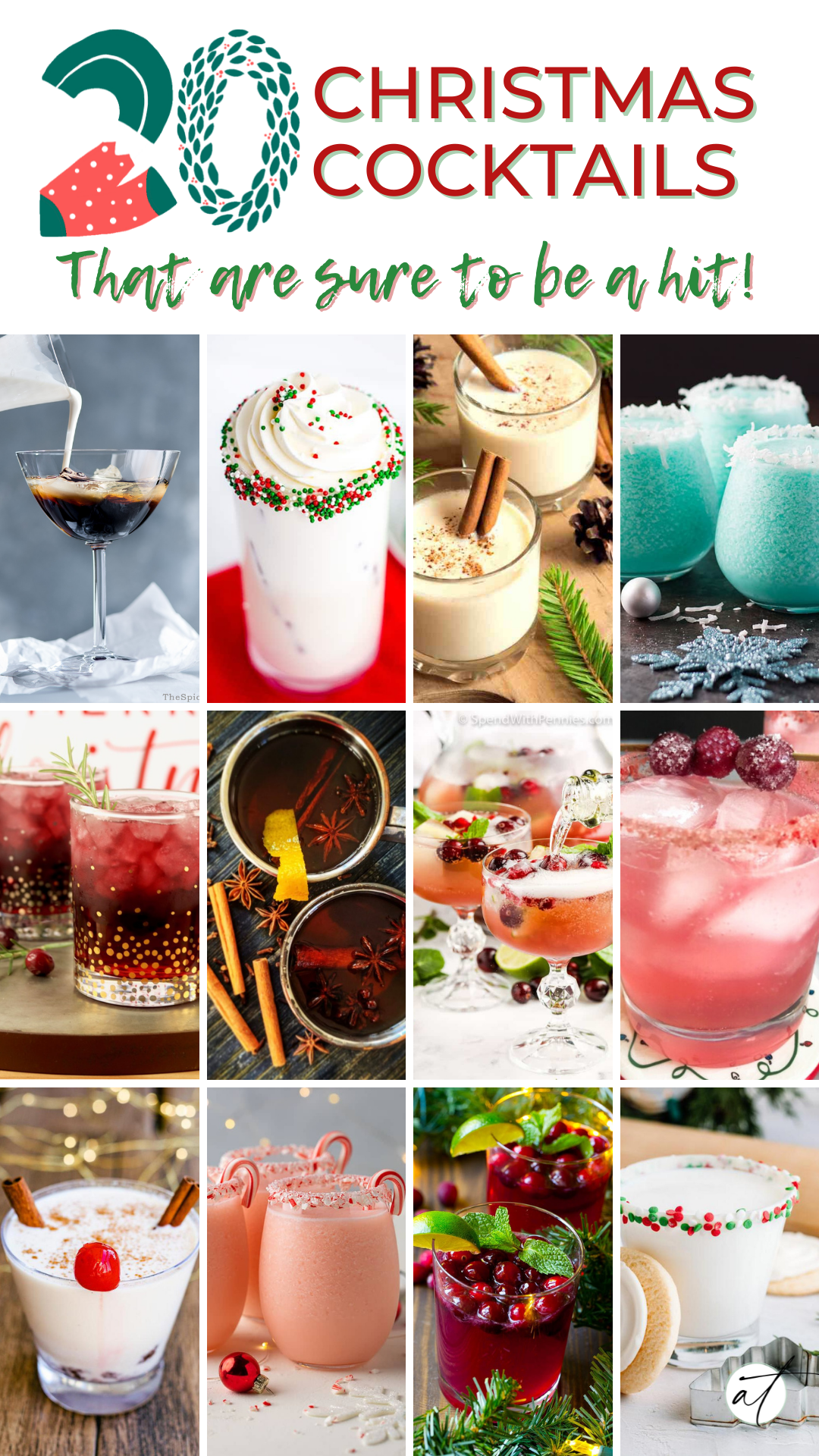 Photo Collage of 20 Christmas inspired cocktails for your next adult Christmas party!
