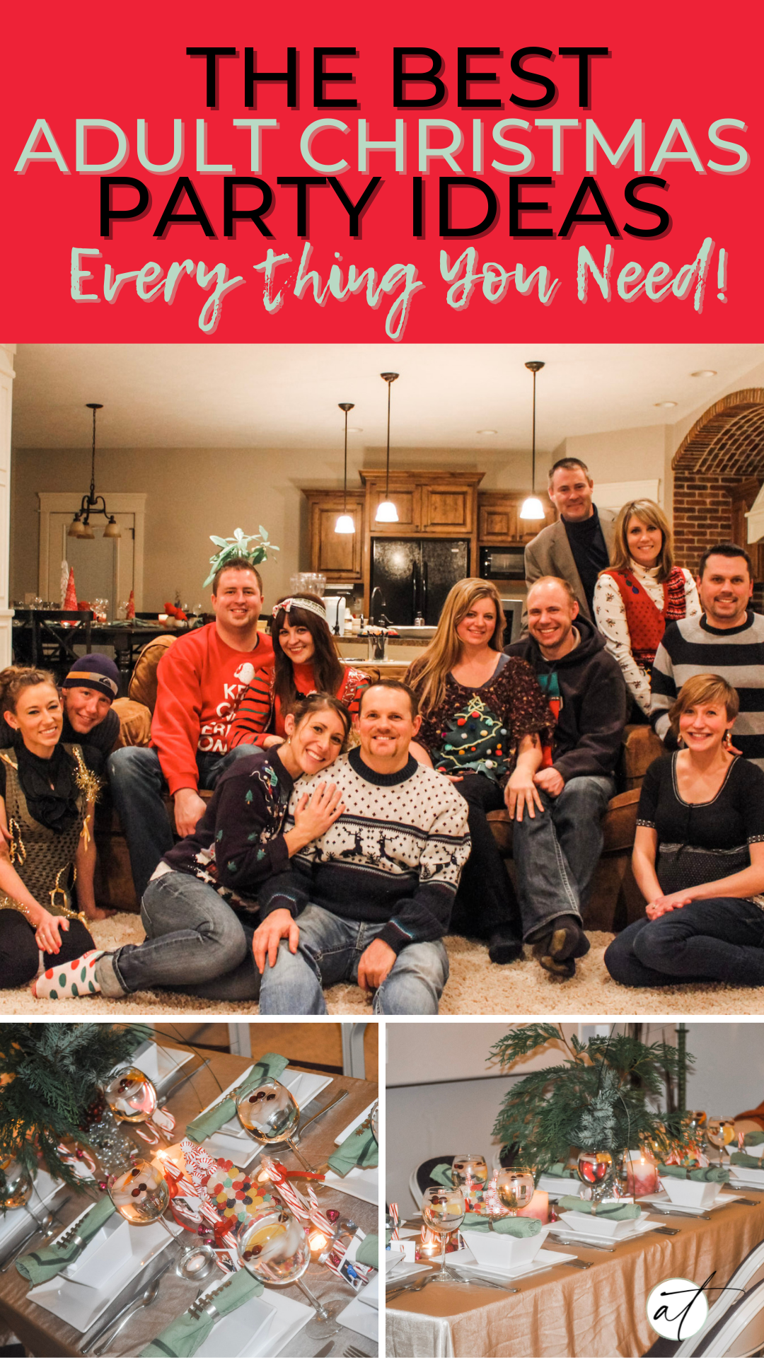 Pinterest image of fun looking group of friends having a good time at an adult Christmas party. Table scape ideas also featured in image