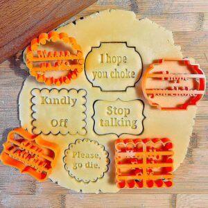 Off color cookie cutters with funny sayings