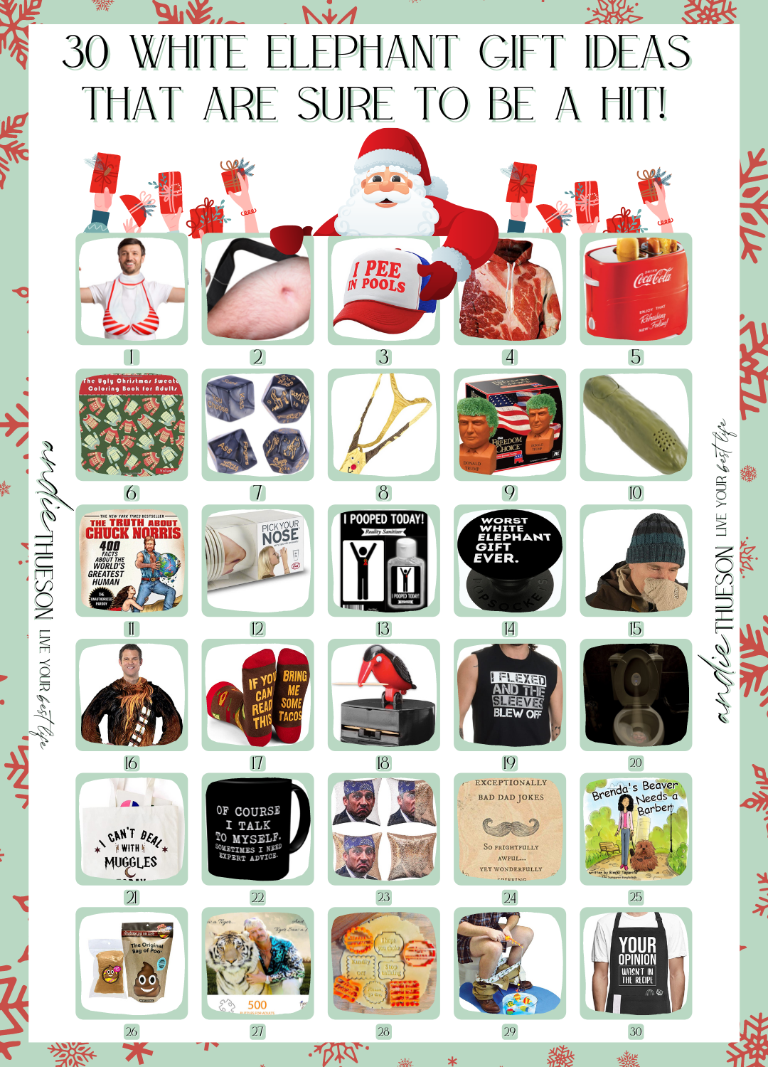 Round Up of 30 Hilarious and Unique White Elephant Gift Ideas. Perfect for your your next adult Christmas Party.